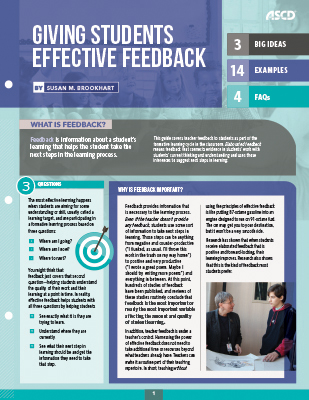 Giving Students Effective Feedback (Quick Reference Guide)